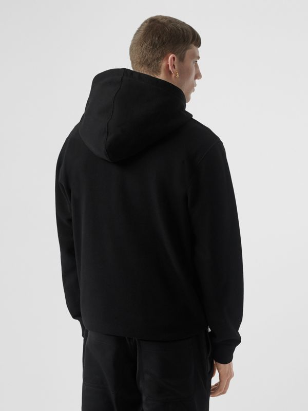 Logo Graphic Cotton Hoodie in Black - Men | Burberry - cell image 2