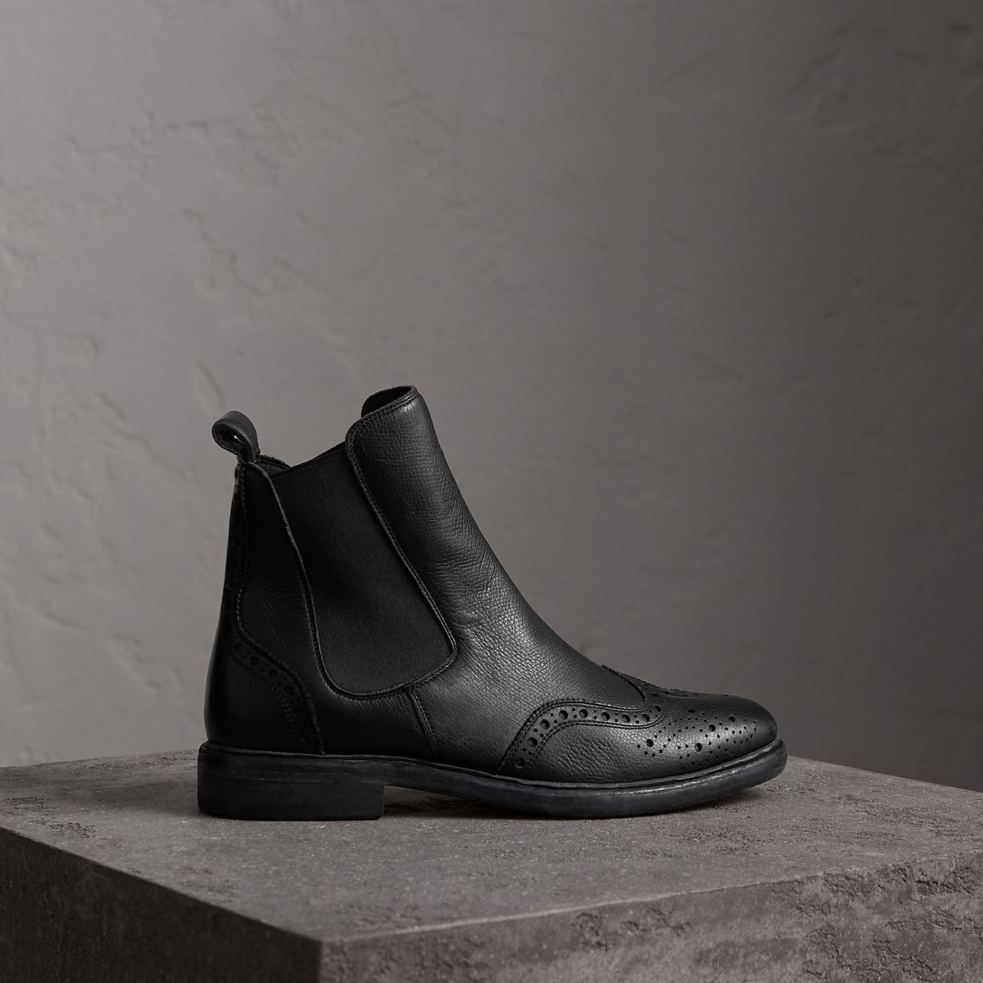 Brogue Detail Textured Leather Chelsea Boots in Black - Women | Burberry - gallery image 0
