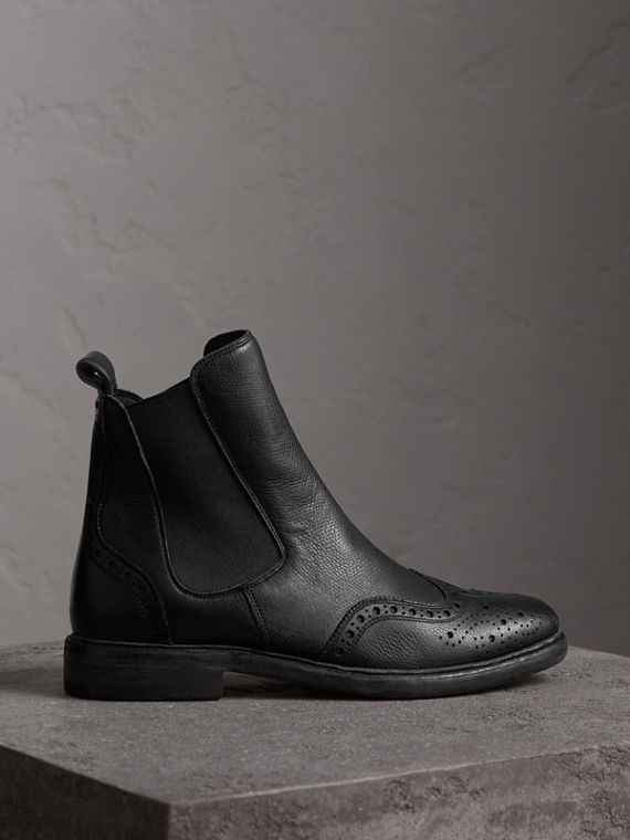 Brogue Detail Textured Leather Chelsea Boots in Black