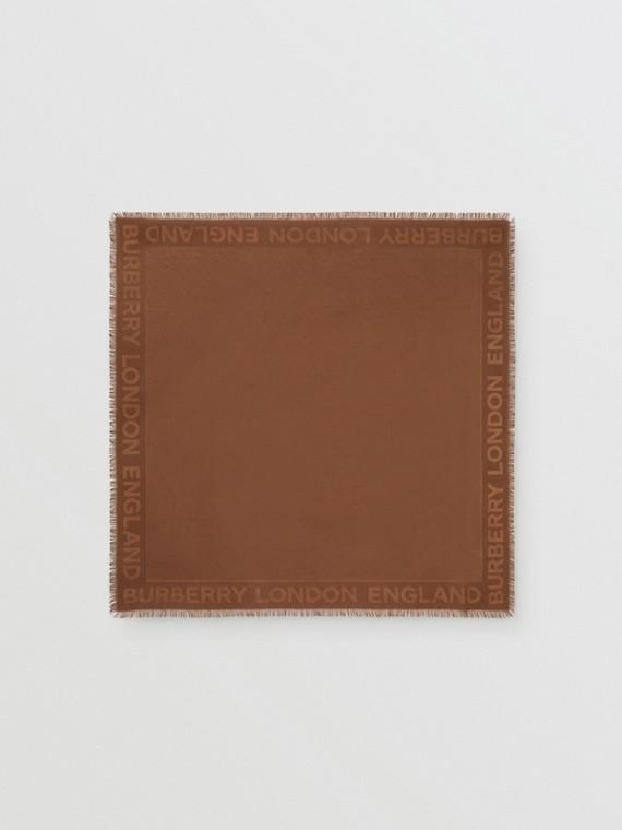 Foulard grande in seta e lana con lavorazione jacquard e monogramma (Marrone Castagna Scuro)