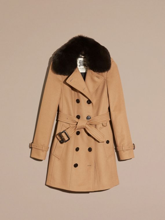 Wool Cashmere Trench Coat with Fur Collar Camel - cell image 3