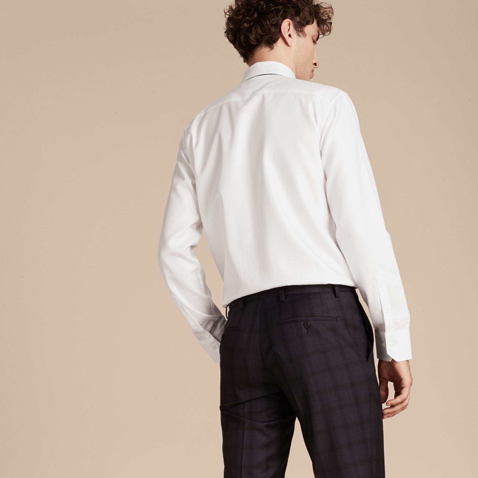 White Modern Fit Cotton Twill Shirt White - gallery image 3