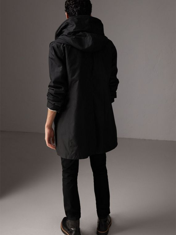Detachable Hood Cotton Blend Car Coat with Warmer in Black - Men | Burberry - cell image 2