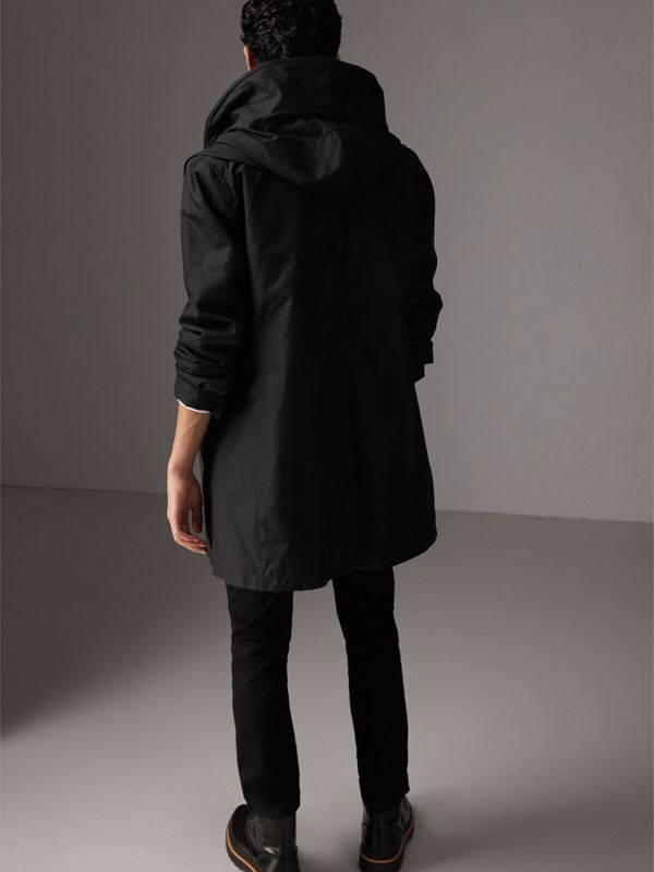 Detachable Hood Cotton Blend Car Coat with Warmer in Black - Men | Burberry United Kingdom - cell image 2