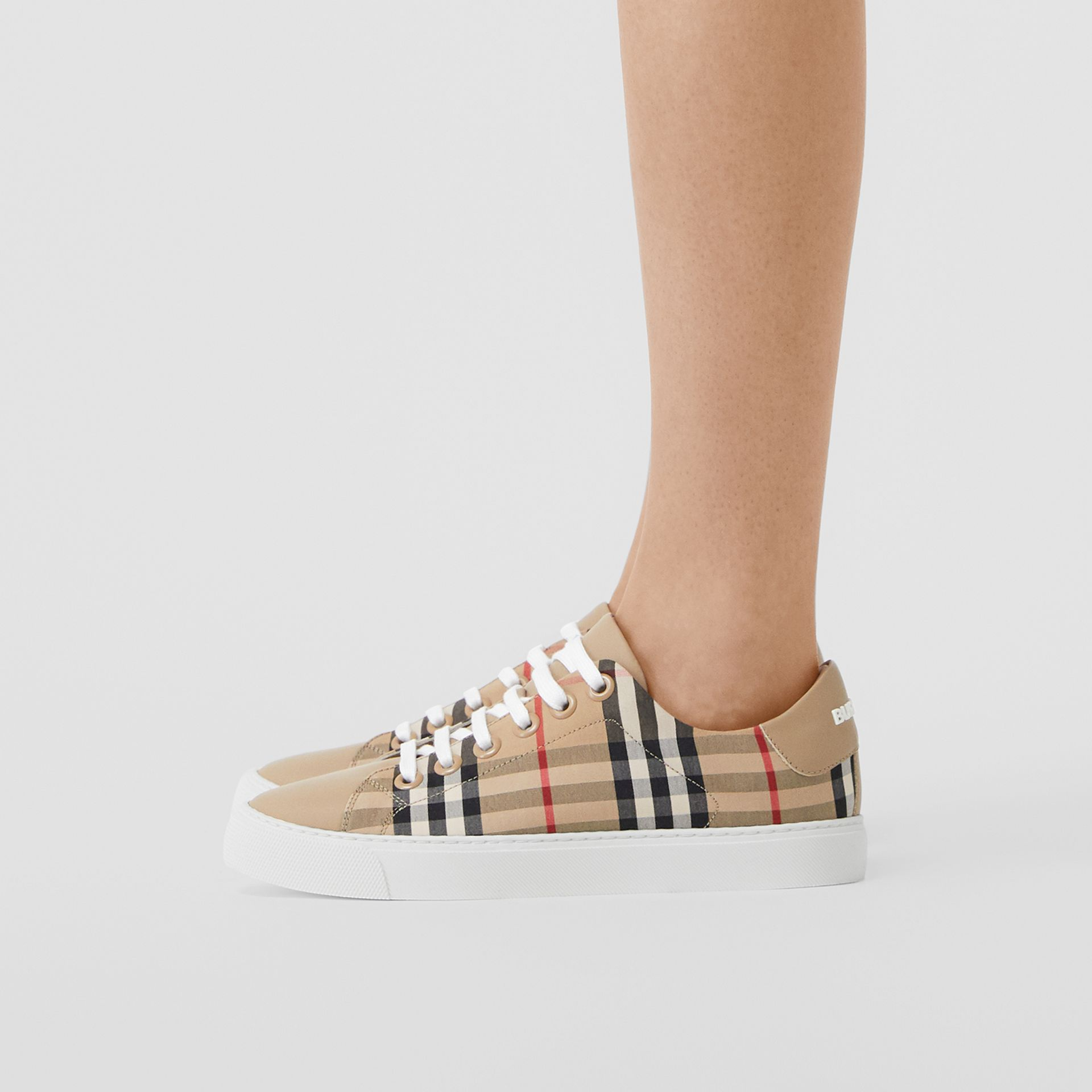 Vintage Check and Leather Sneakers in Archive Beige - Women | Burberry Australia - gallery image 2