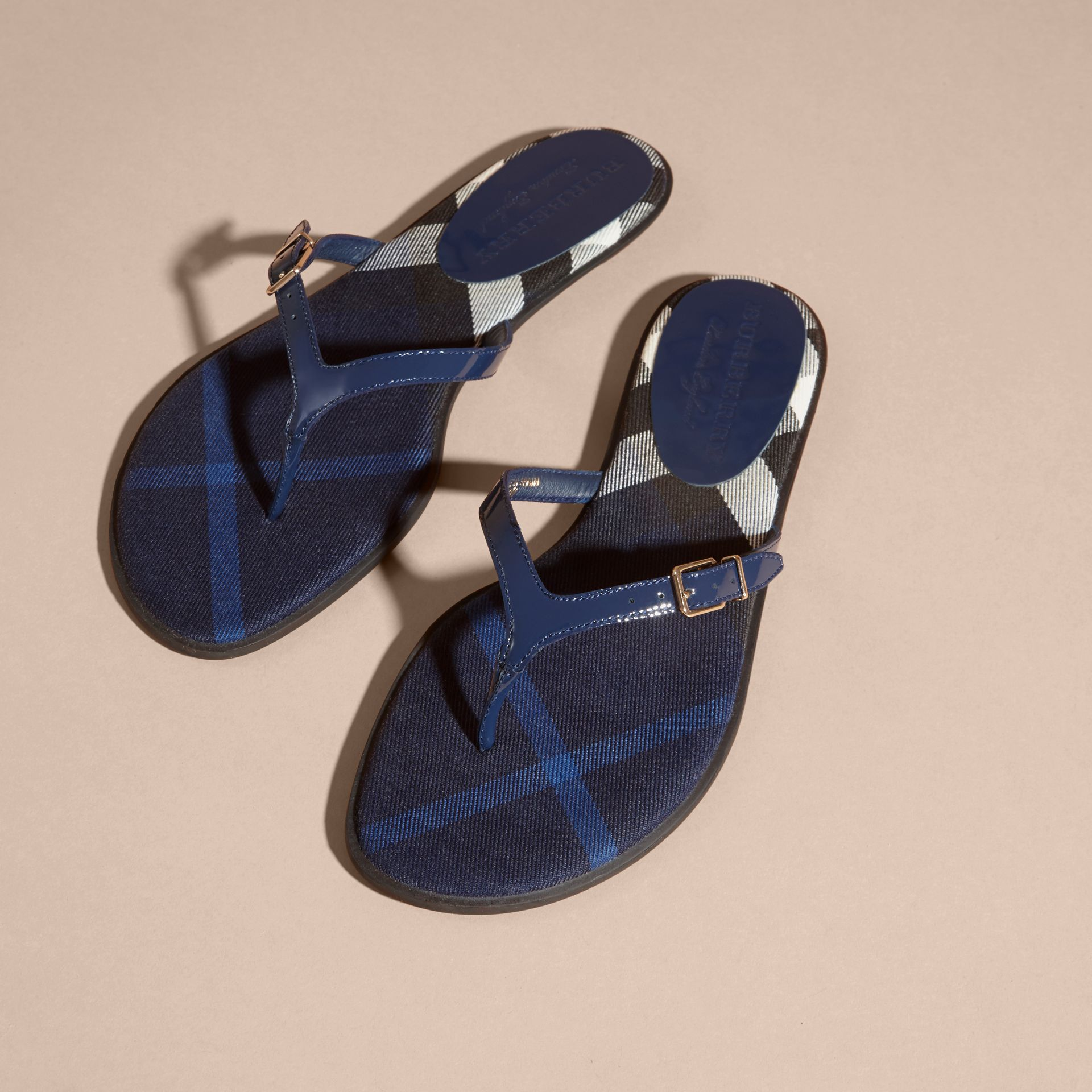 House Check and Patent Leather Sandals in Indigo Blue - Women | Burberry Singapore - gallery image 3