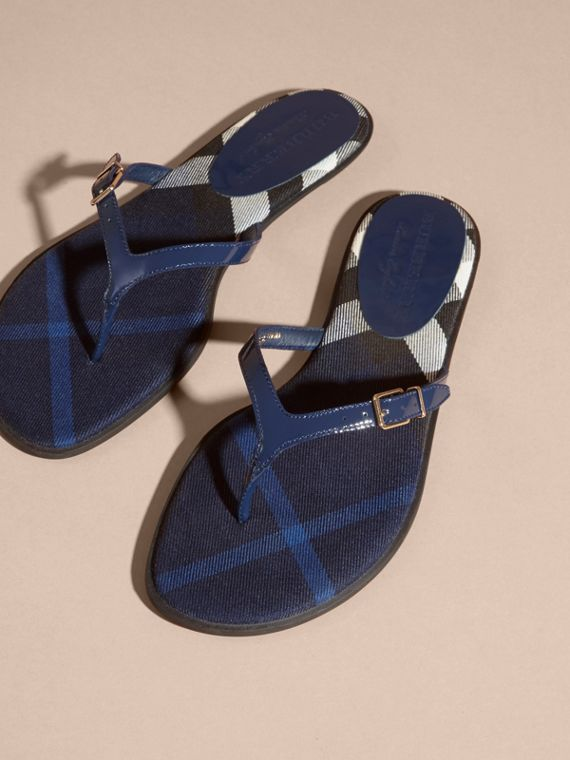 House Check and Patent Leather Sandals in Indigo Blue - Women | Burberry - cell image 2