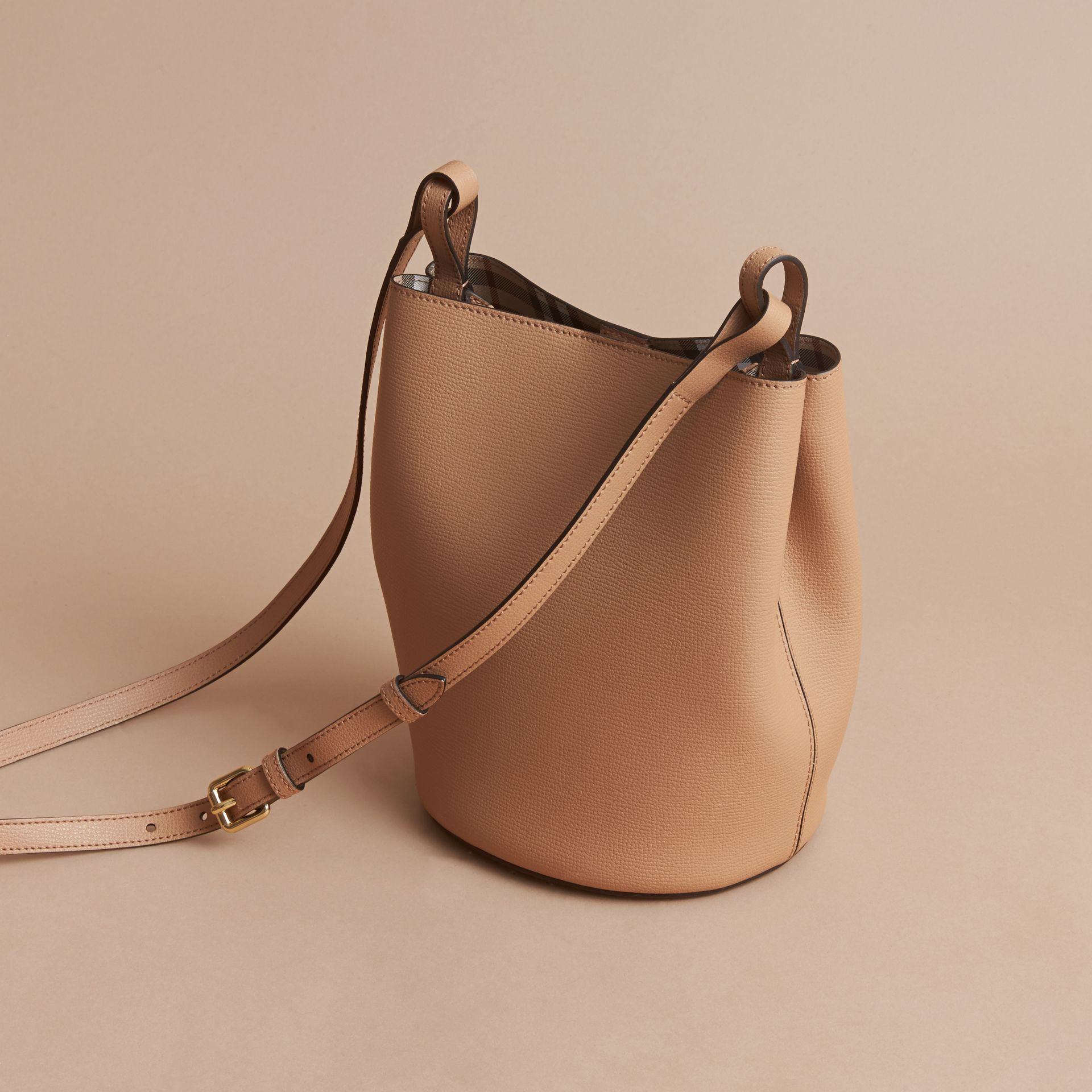 Leather and Haymarket Check Crossbody Bucket Bag in Mid Camel - Women | Burberry - gallery image 4