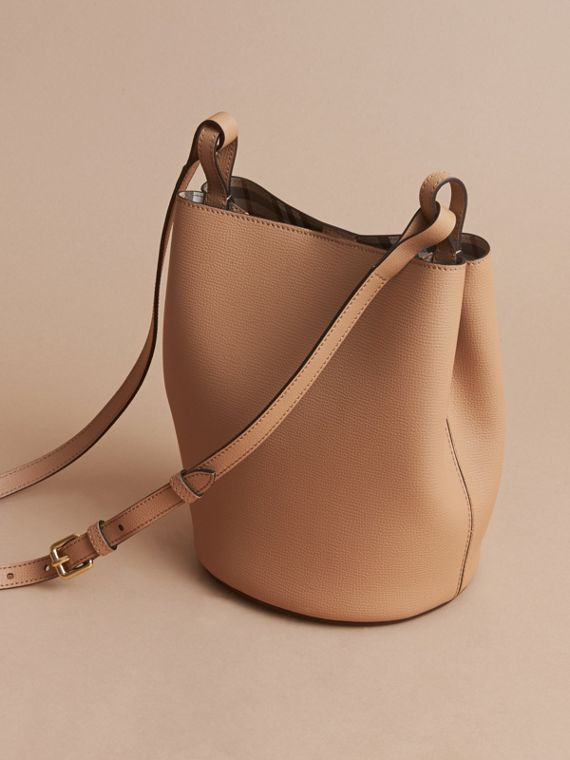 Leather and Haymarket Check Crossbody Bucket Bag in Mid Camel - Women | Burberry - cell image 3