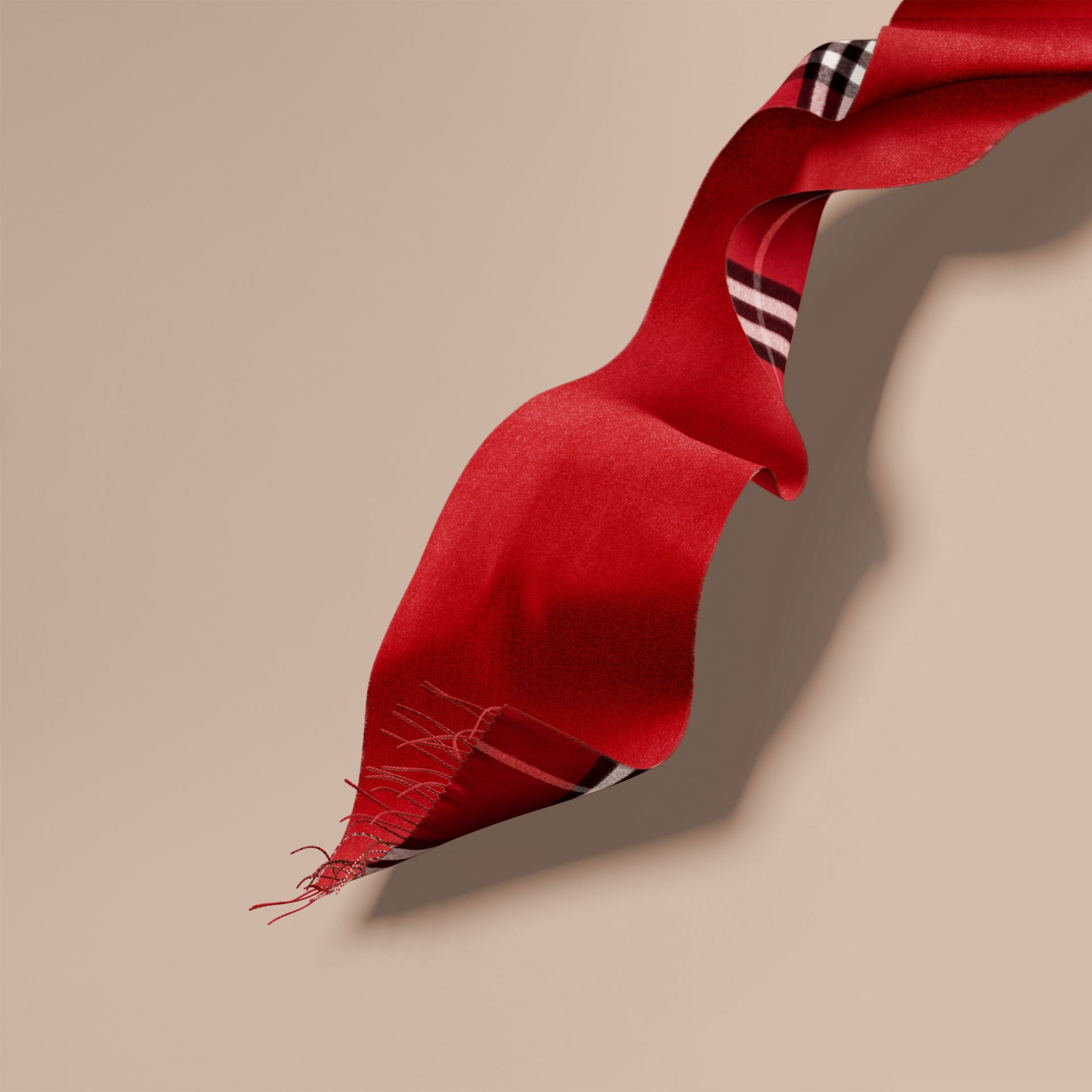 Reversible Metallic Check Cashmere Scarf in Parade Red - gallery image 7