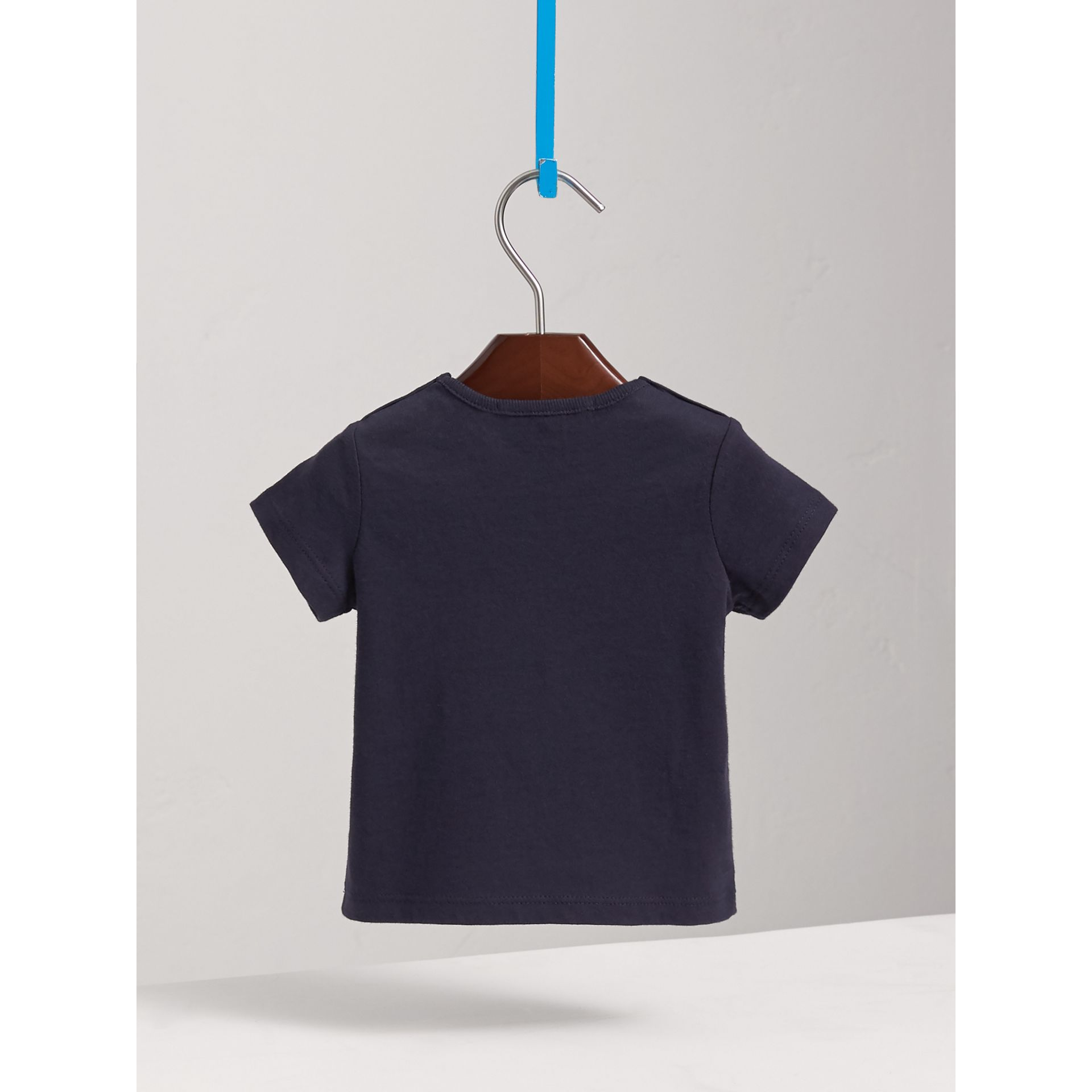 Check Pocket Cotton T-shirt in True Navy | Burberry - gallery image 3