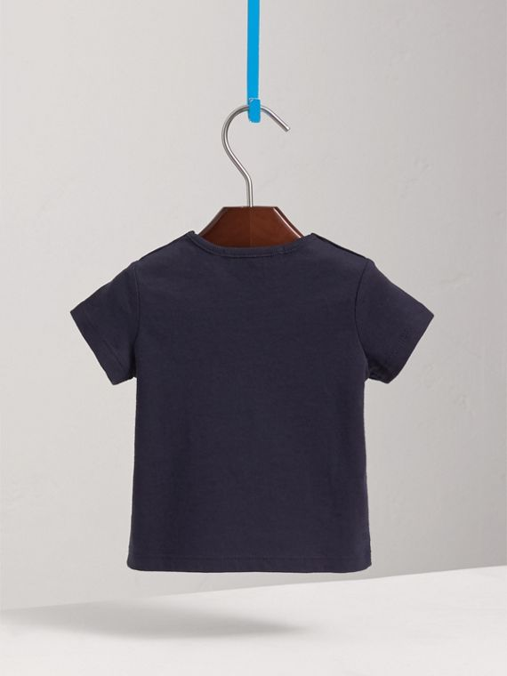 Check Pocket Cotton T-shirt in True Navy | Burberry - cell image 3