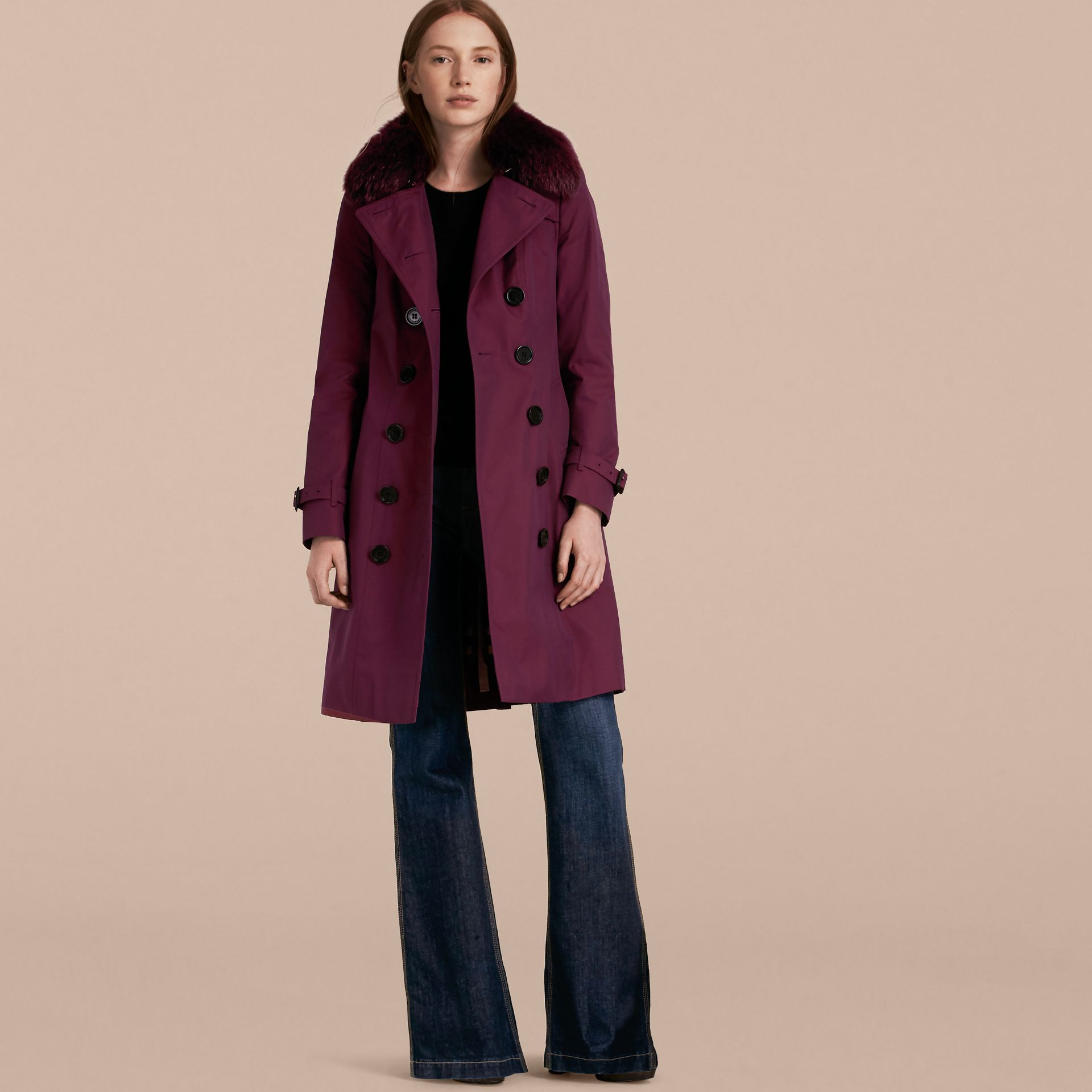Crimson Cotton Gabardine Trench Coat with Detachable Fur Trim Crimson - gallery image 8