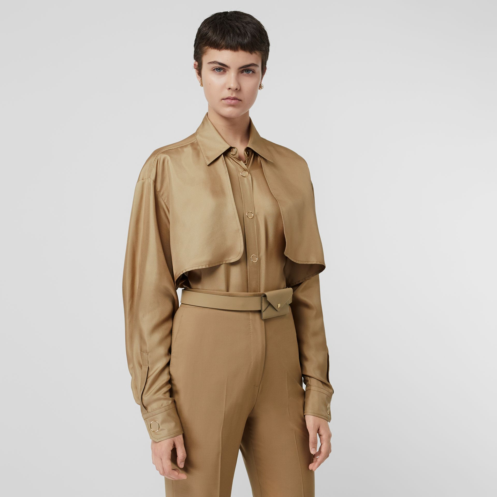 Cape Detail Silk Shirt in Honey - Women | Burberry - gallery image 0