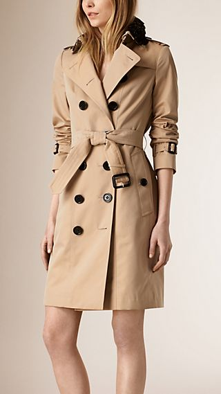 Lace Collar Cotton Gabardine Trench Coat
