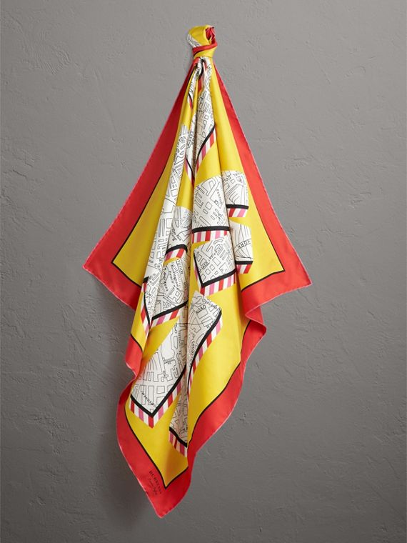 London Print Silk Square Scarf in Bright Yellow | Burberry - cell image 3