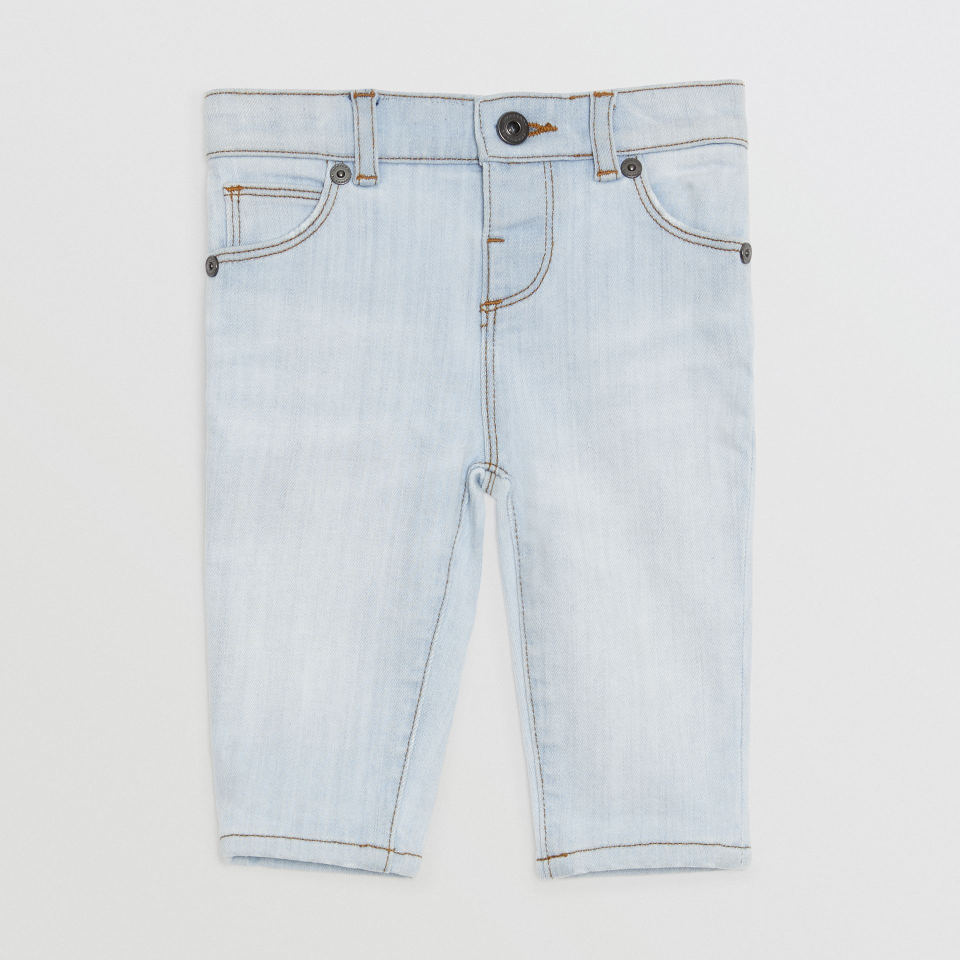Skinny Fit Stretch Denim Jeans in Light Blue - Children | Burberry United States - gallery image 0