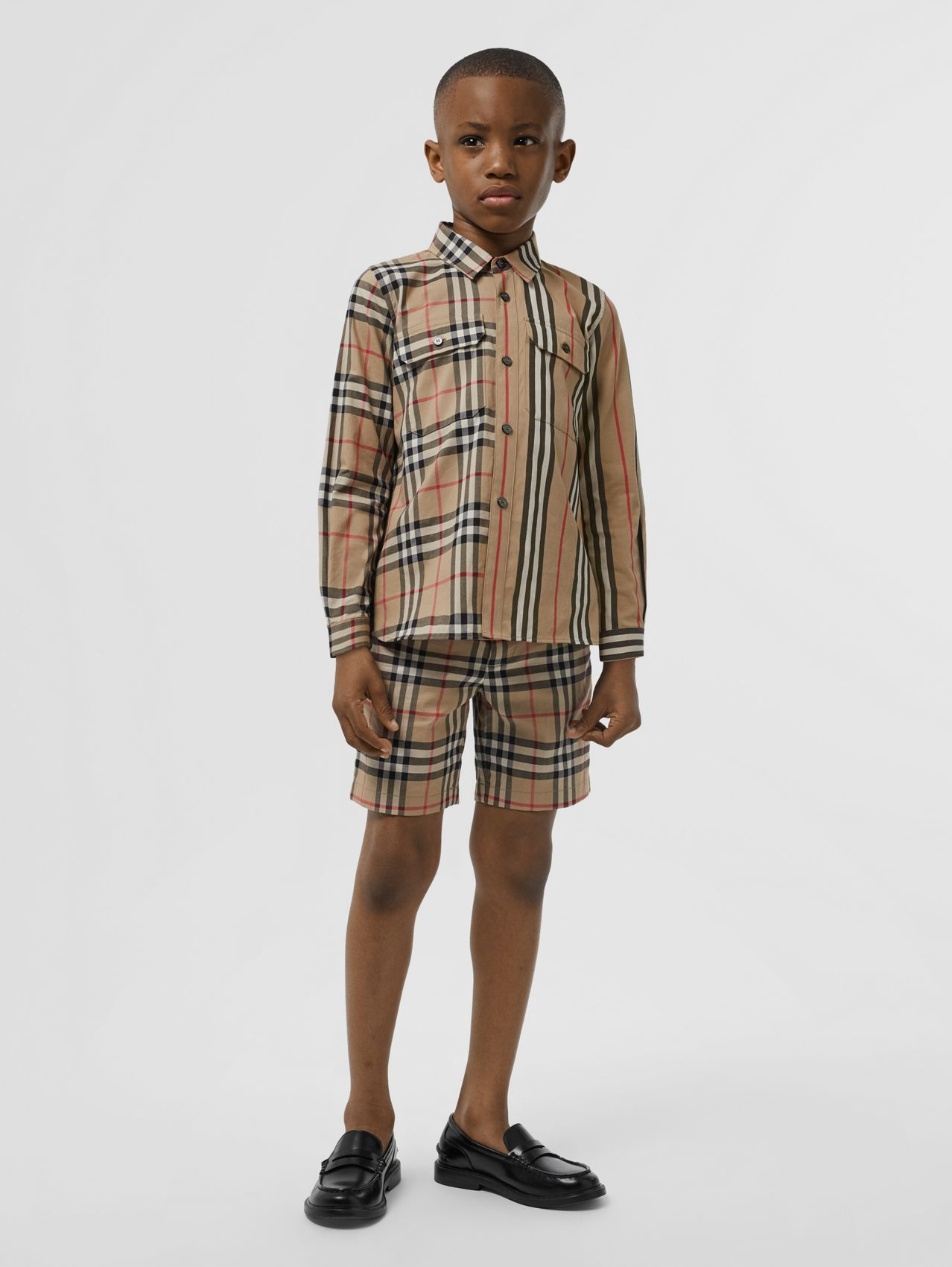 Panelled Vintage Check and Icon Stripe Cotton Shirt in Archive Beige