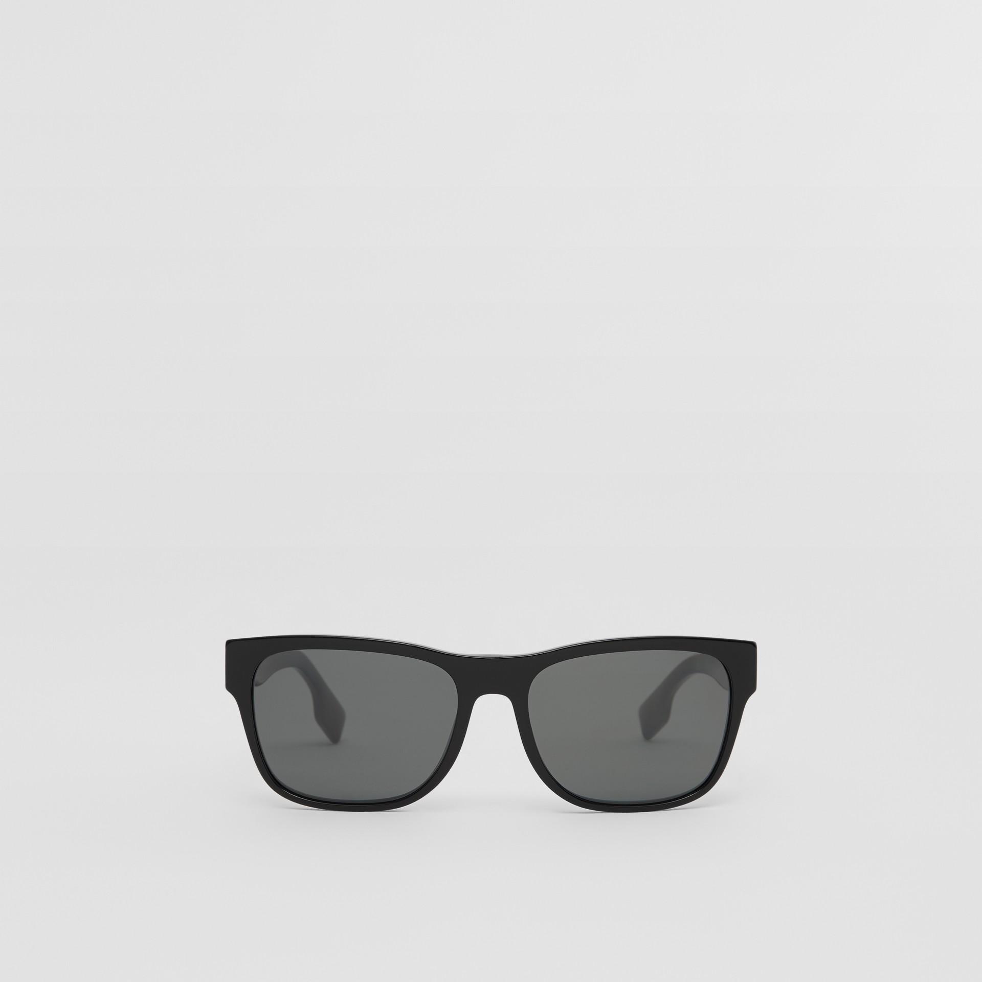 Logo Appliqué Square Frame Sunglasses in Black - Men | Burberry - gallery image 0
