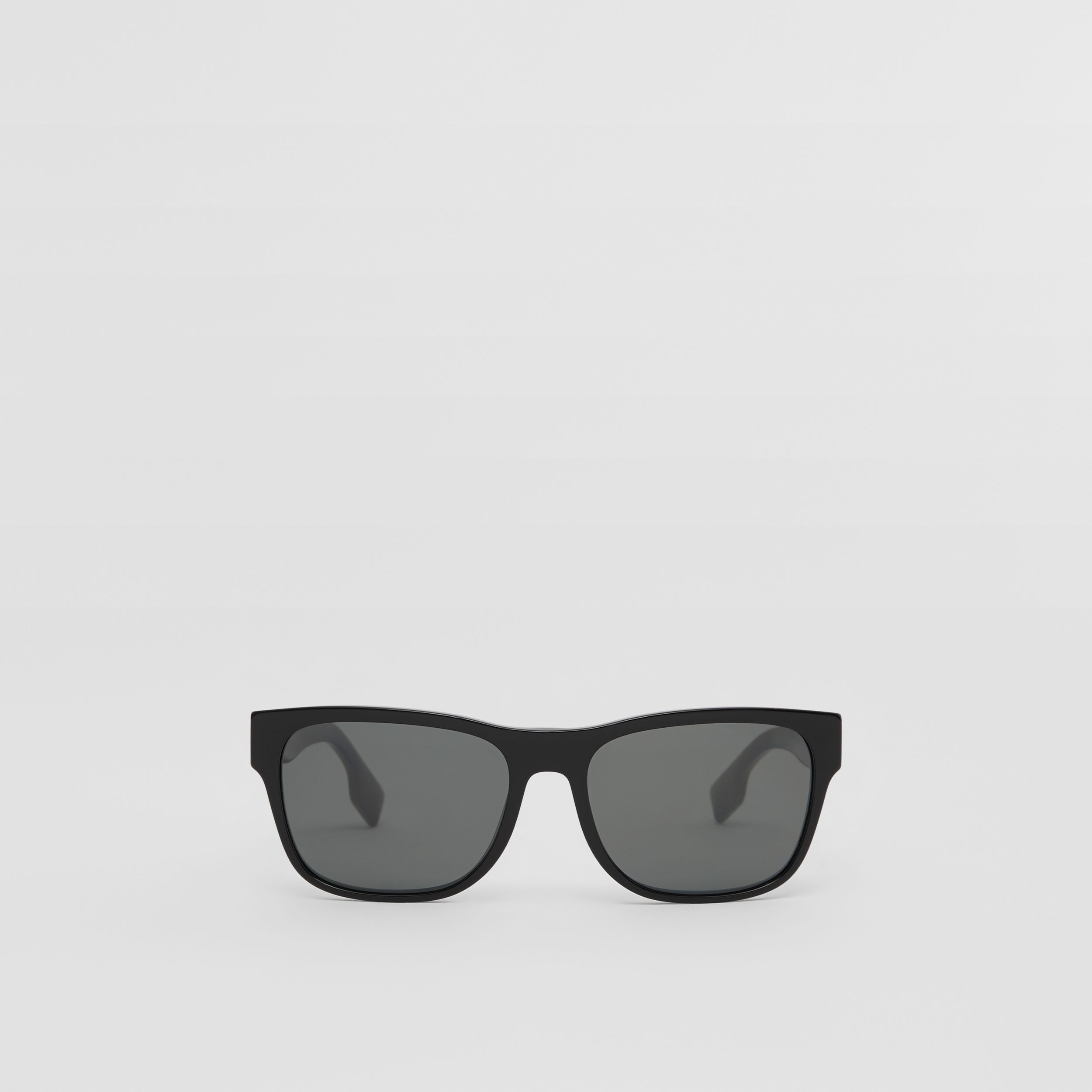 Logo Appliqué Square Frame Sunglasses in Black - Men | Burberry United Kingdom - 1