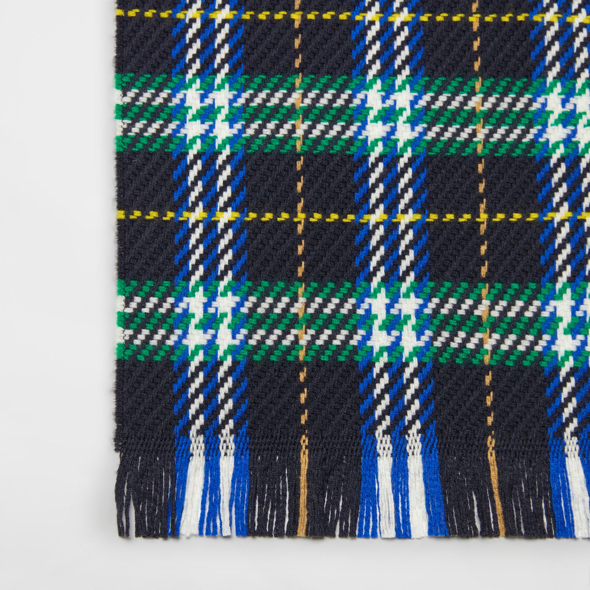 Check Merino Wool Scarf in Navy | Burberry - gallery image 1