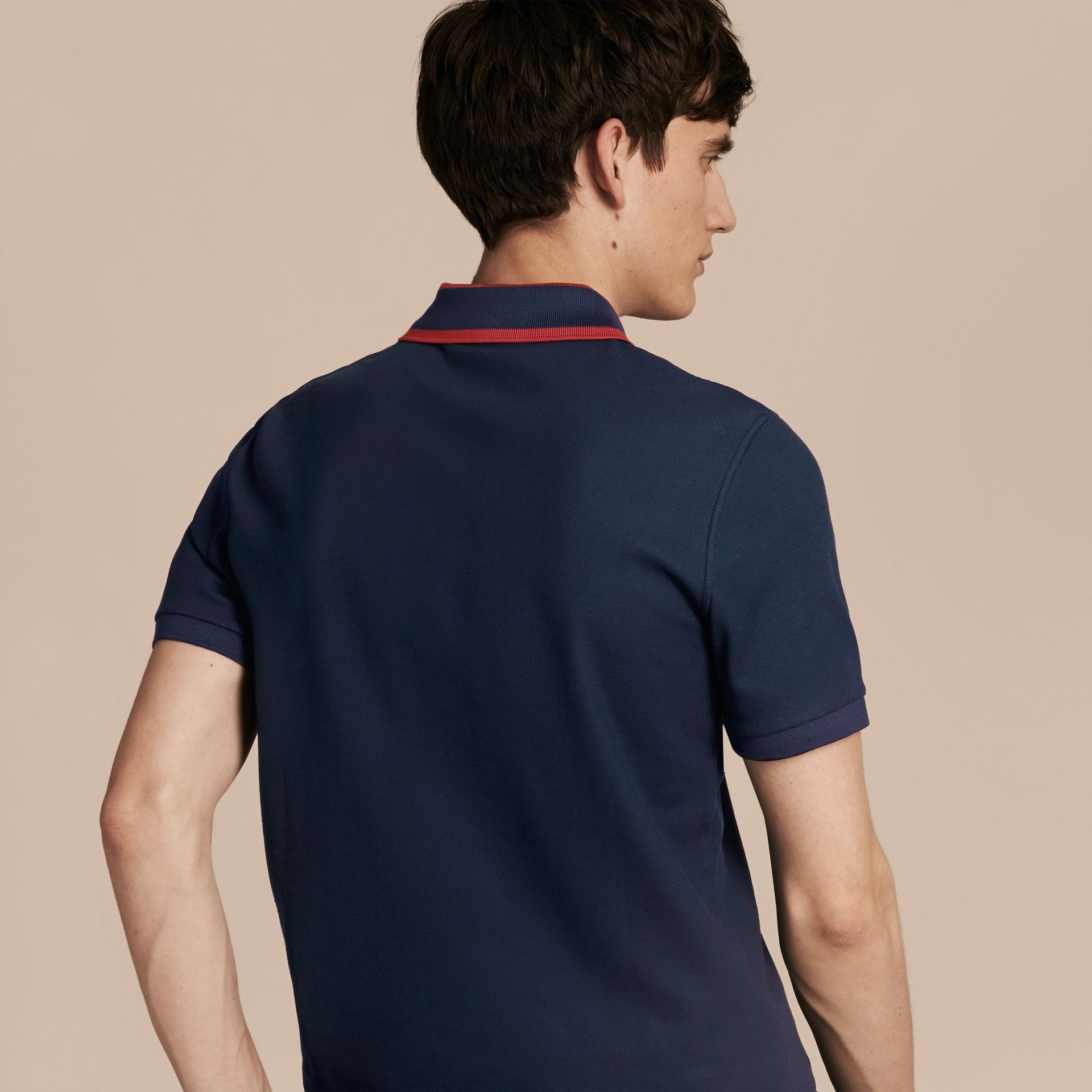 Striped Collar Cotton Piqué Polo Shirt Navy Blue - gallery image 3