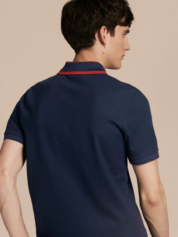 Striped Collar Cotton Piqué Polo Shirt in Navy Blue - cell image 2