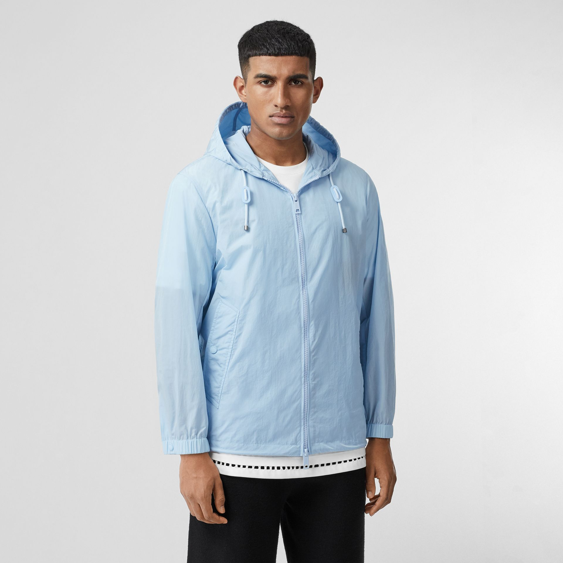 Packaway Lightweight Hooded Jacket in Pale Blue - Men | Burberry - gallery image 5