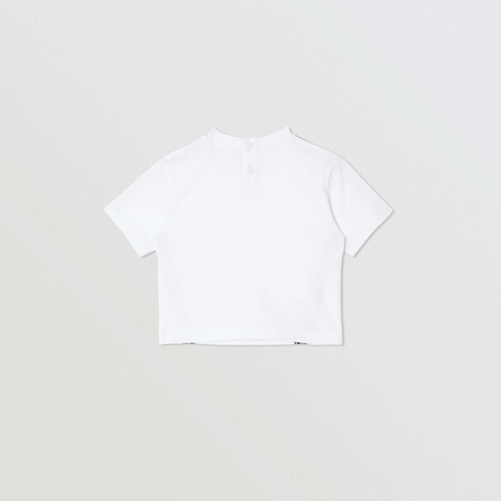 Logo Tape Cotton T-shirt in White - Children | Burberry - gallery image 4