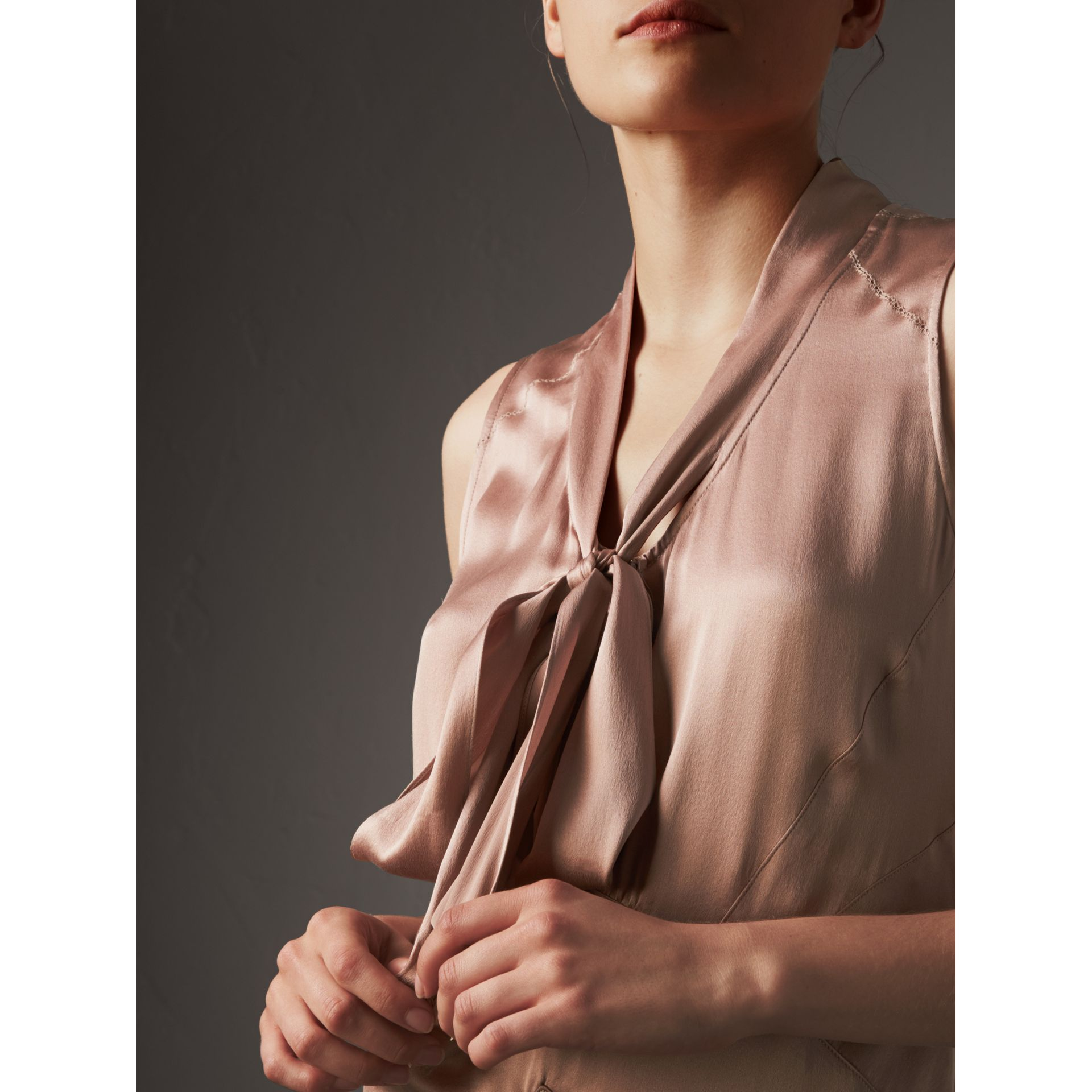 Silk Satin Tie-neck Dress in Antique Taupe Pink - Women | Burberry United Kingdom - gallery image 2