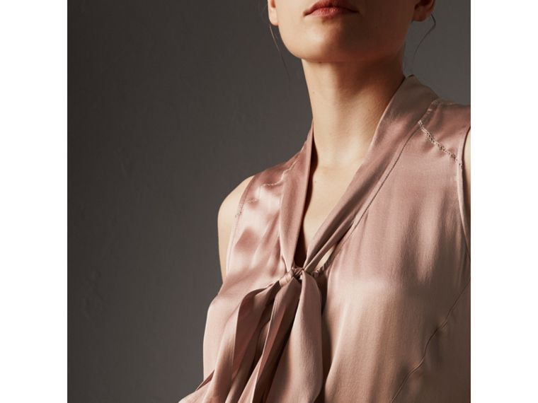 Silk Satin Tie-neck Dress in Antique Taupe Pink - Women | Burberry United Kingdom - cell image 1