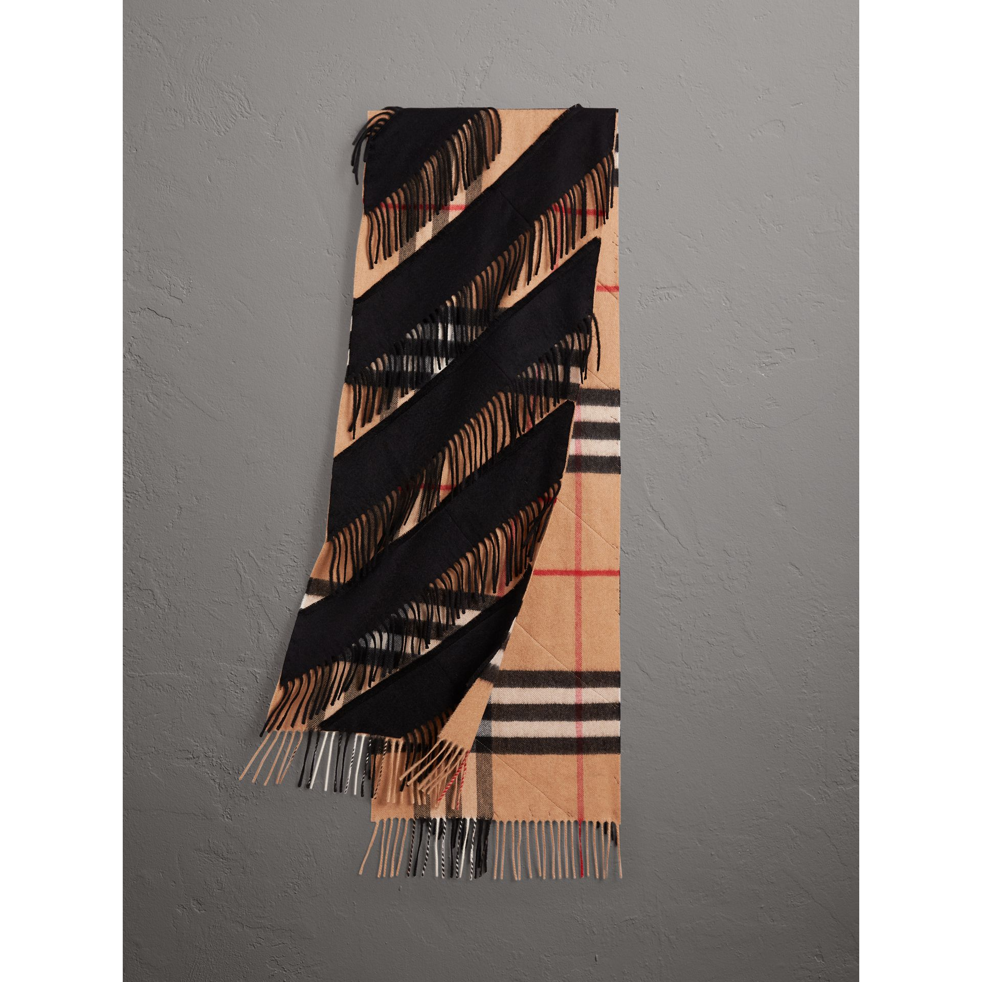 The Classic Check Cashmere Scarf with Fringing in Camel/black | Burberry United Kingdom - gallery image 0