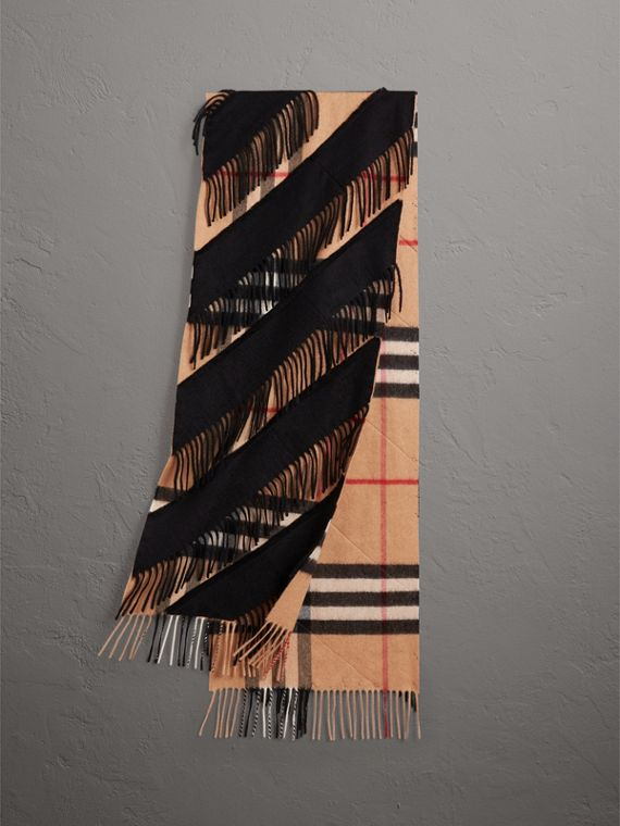 The Classic Check Cashmere Scarf with Fringing in Camel/black