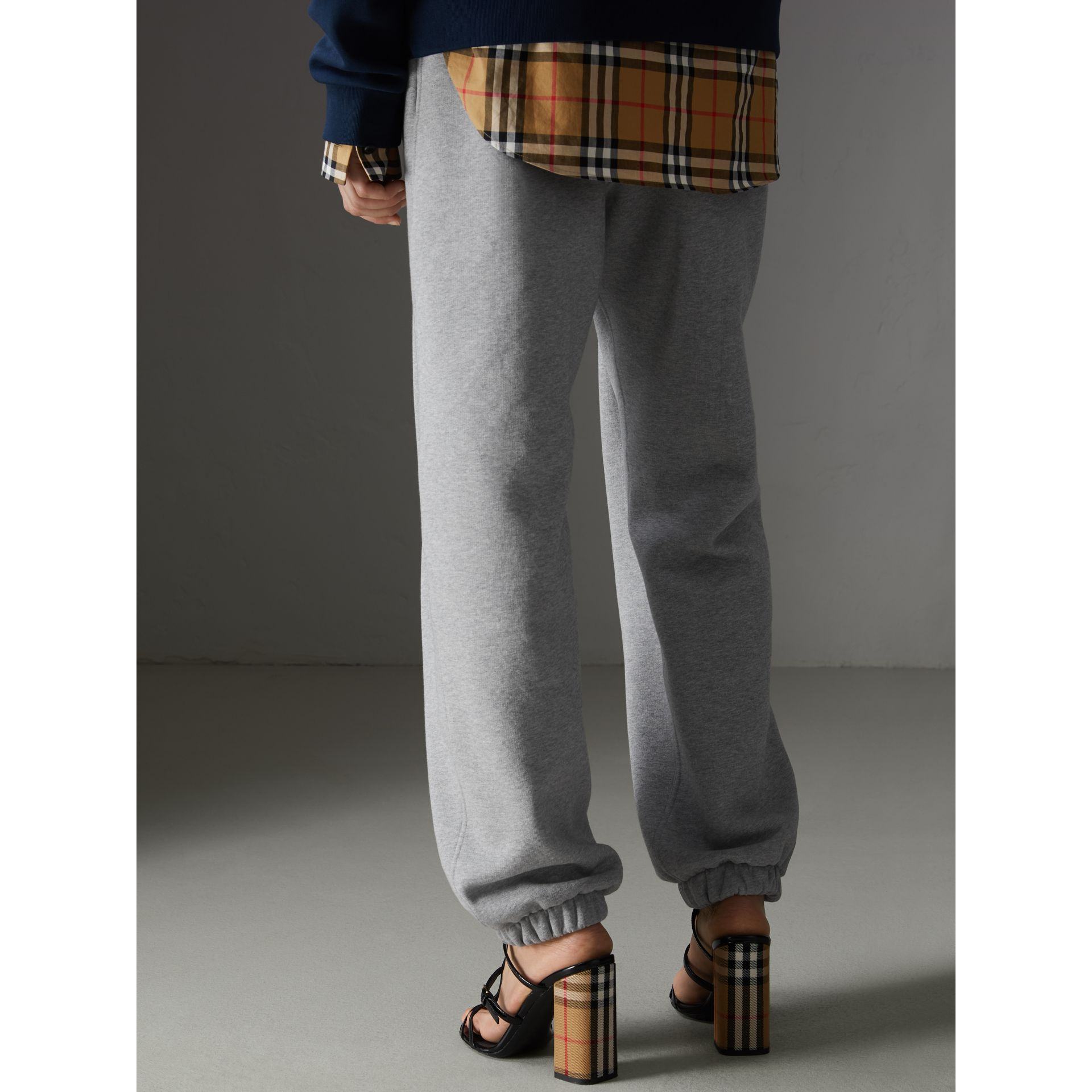Archive Logo Jersey Sweatpants in Grey Melange - Women | Burberry - gallery image 2