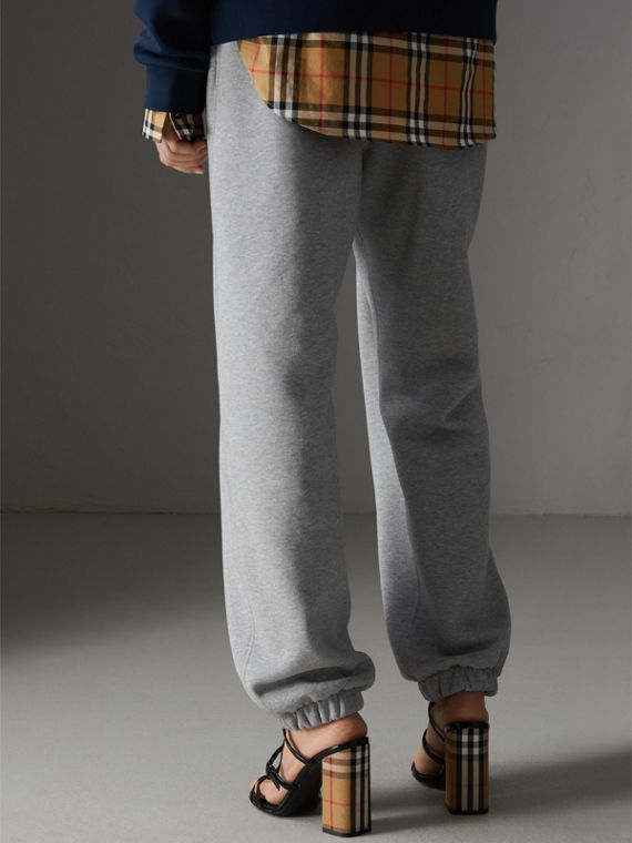 Archive Logo Jersey Sweatpants in Grey Melange - Women | Burberry Singapore - cell image 2