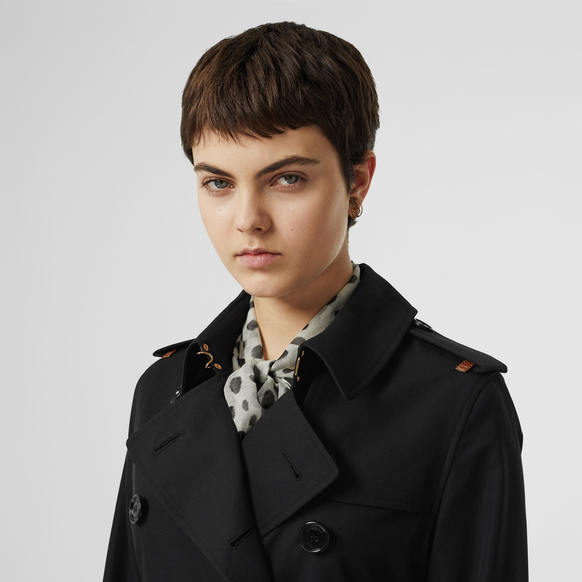 Leather Detail Cotton Gabardine Trench Coat in Black - Women | Burberry United Kingdom - gallery image 1