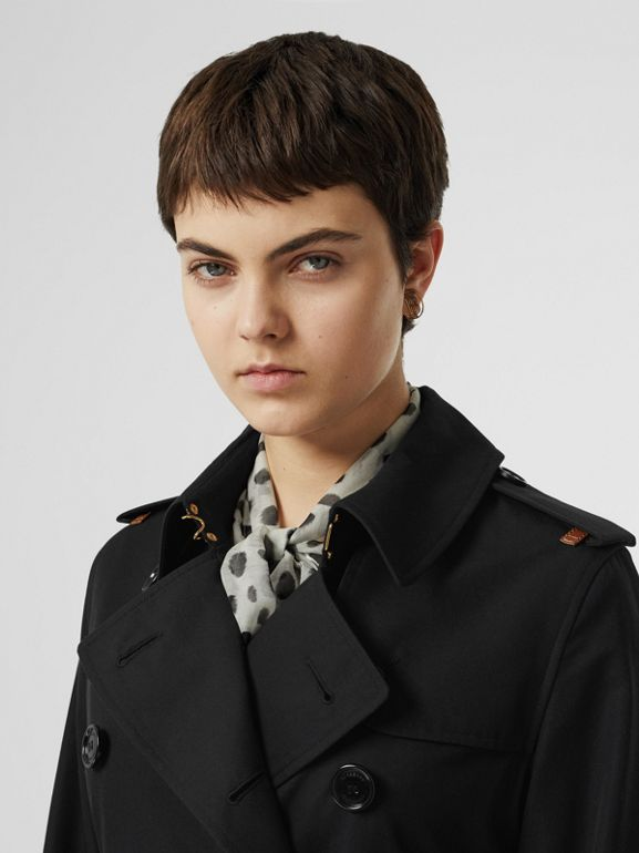 Leather Detail Cotton Gabardine Trench Coat in Black - Women | Burberry Australia - cell image 1