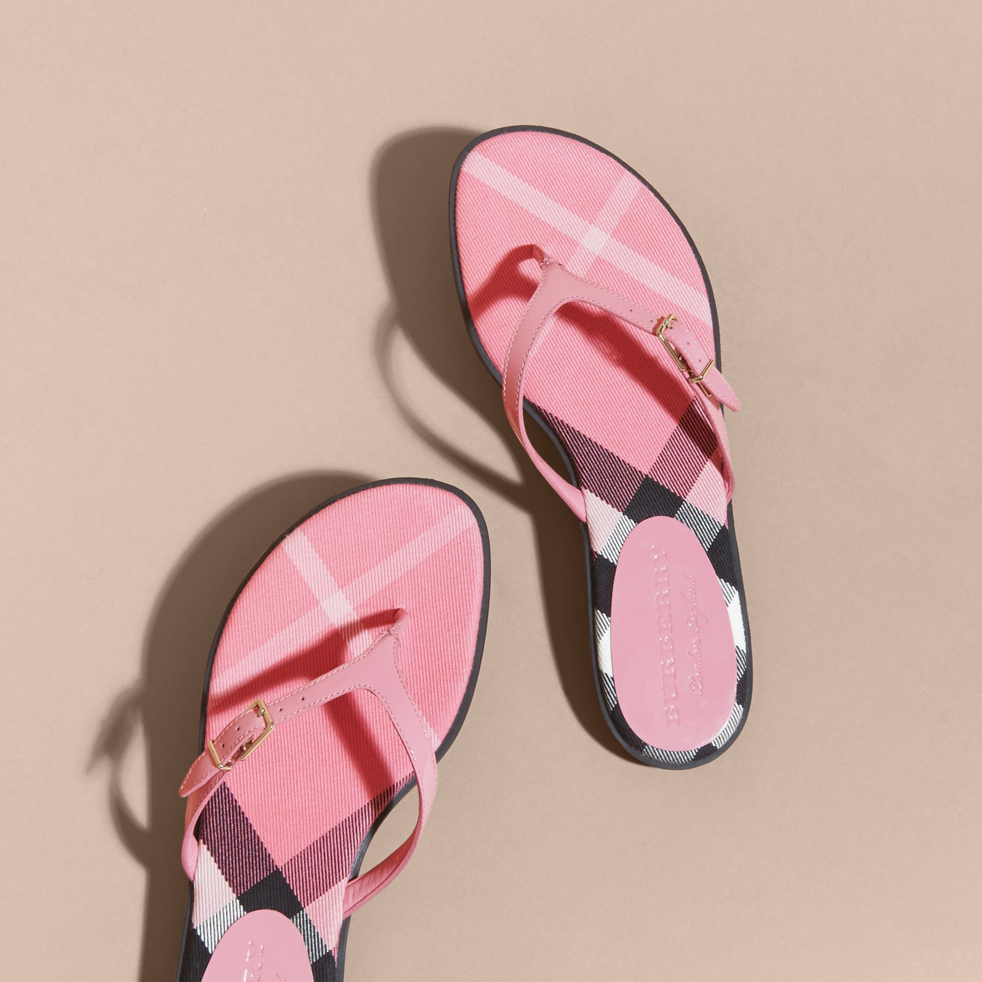House Check and Patent Leather Sandals Berry Pink - gallery image 4