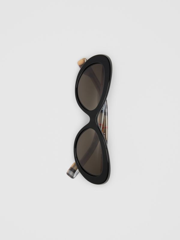 Vintage Check Detail Cat-eye Frame Sunglasses in Black - Women | Burberry United Kingdom - cell image 3