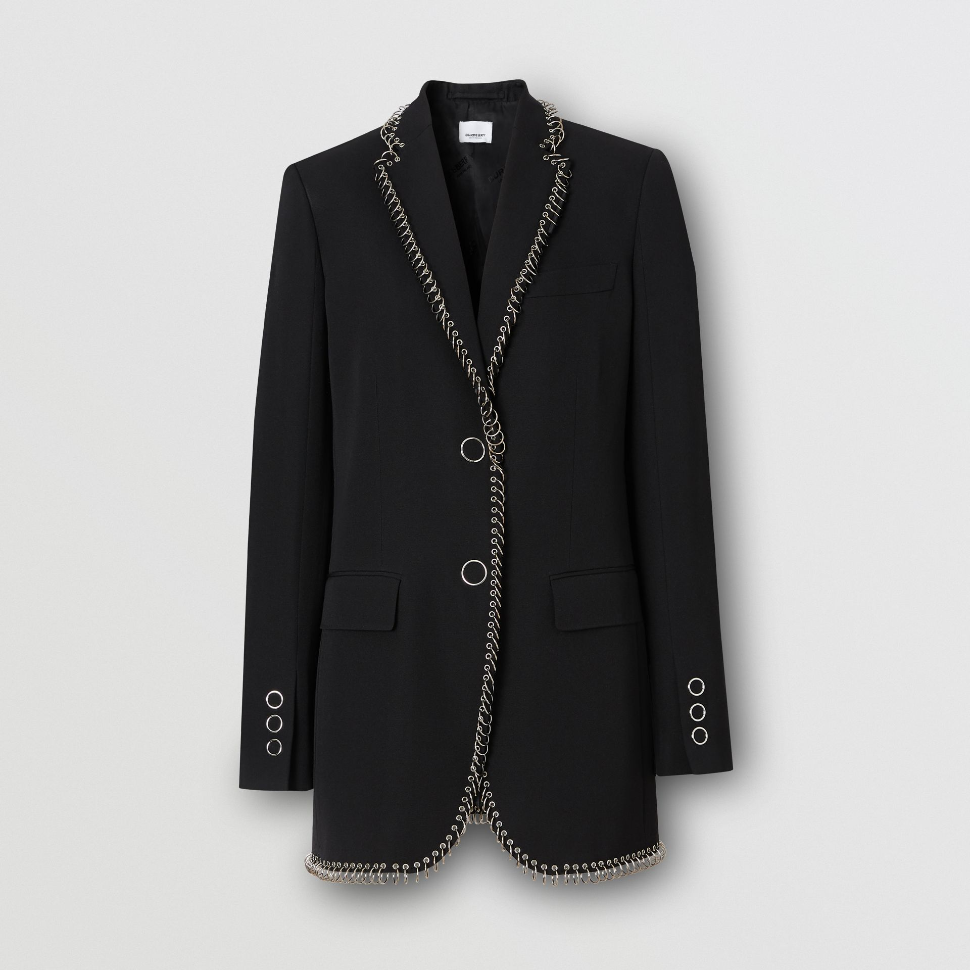 Ring-pierced Wool Tailored Jacket in Black - Women | Burberry - gallery image 3