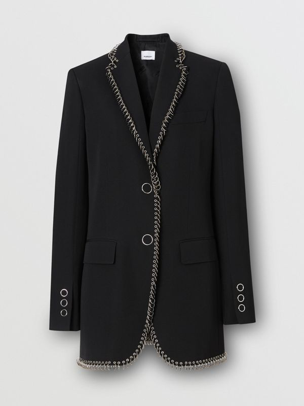 Ring-pierced Wool Tailored Jacket in Black - Women | Burberry - cell image 3