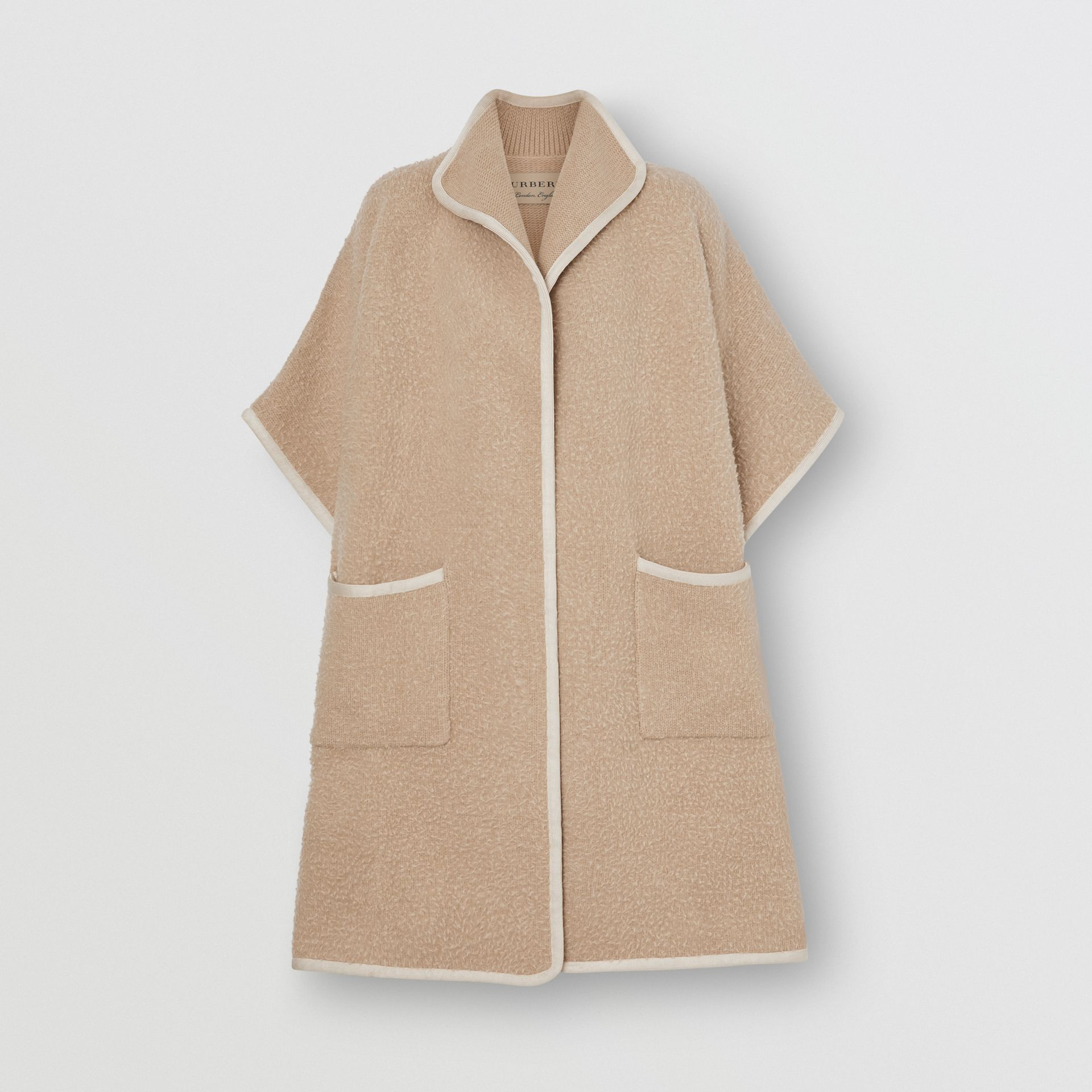 Wool Fleece Cape in Sand - Women | Burberry Australia - gallery image 3