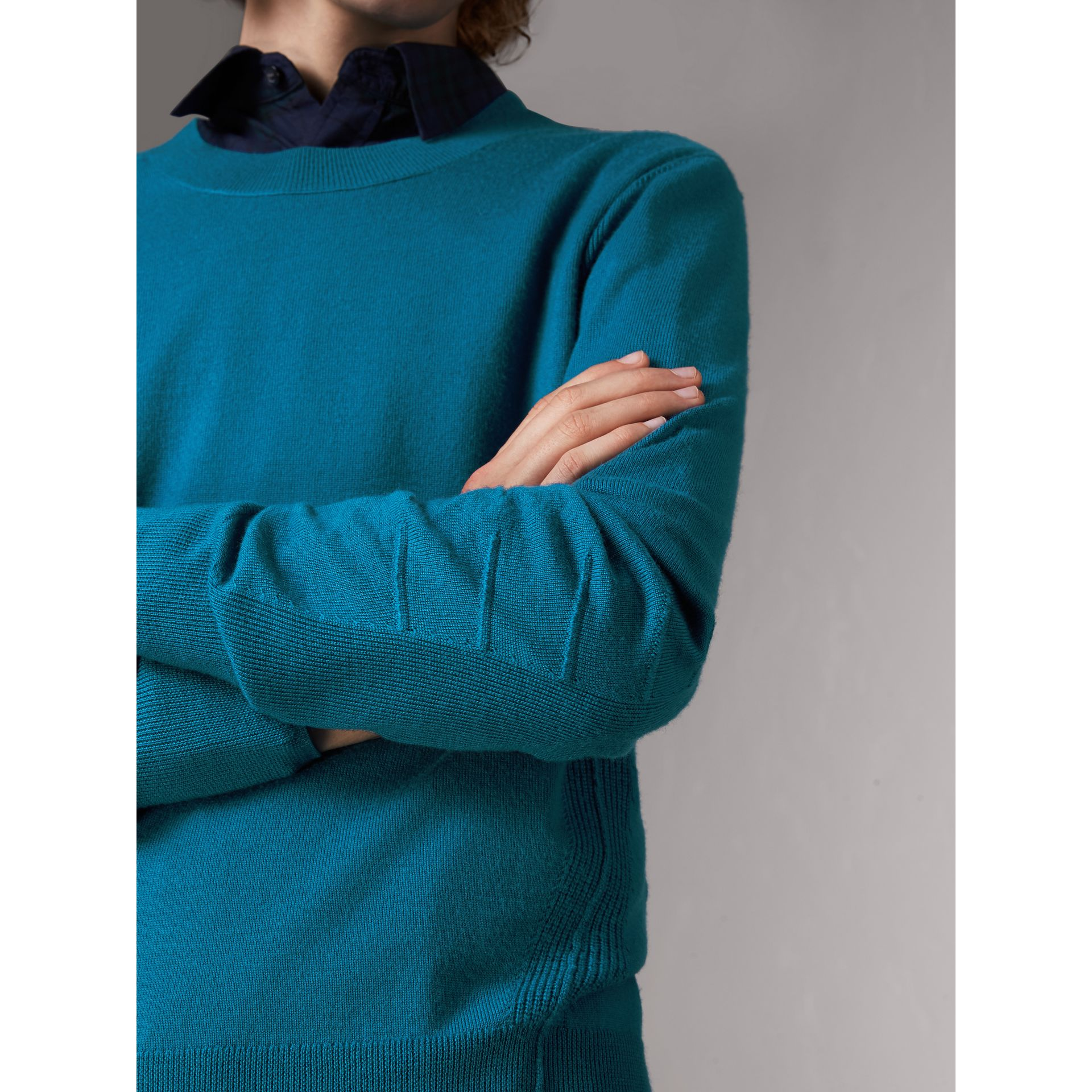 Check Detail Merino Wool Sweater in Mineral Blue - Men | Burberry - gallery image 1