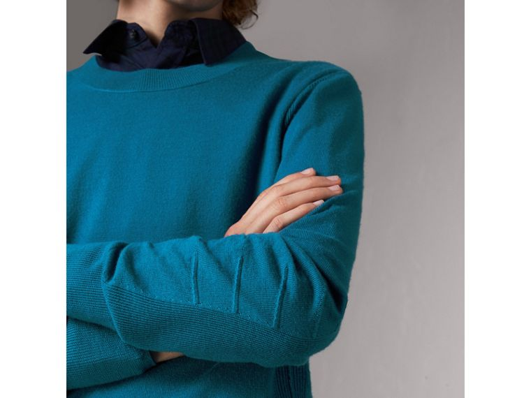 Check Detail Merino Wool Sweater in Mineral Blue - Men | Burberry - cell image 1