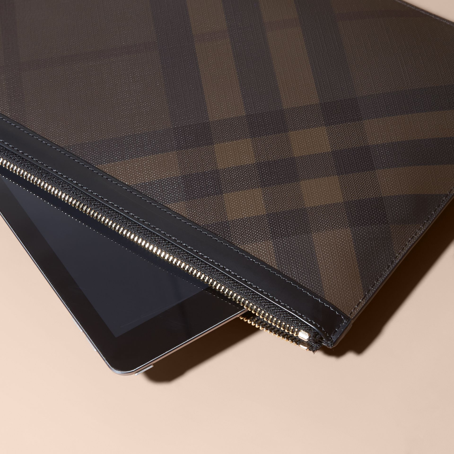 Zipped London Check Pouch in Chocolate/black - Men | Burberry - gallery image 2