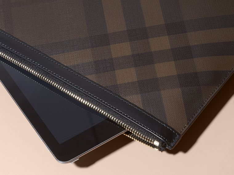 Zipped London Check Pouch in Chocolate/black - Men | Burberry - cell image 1