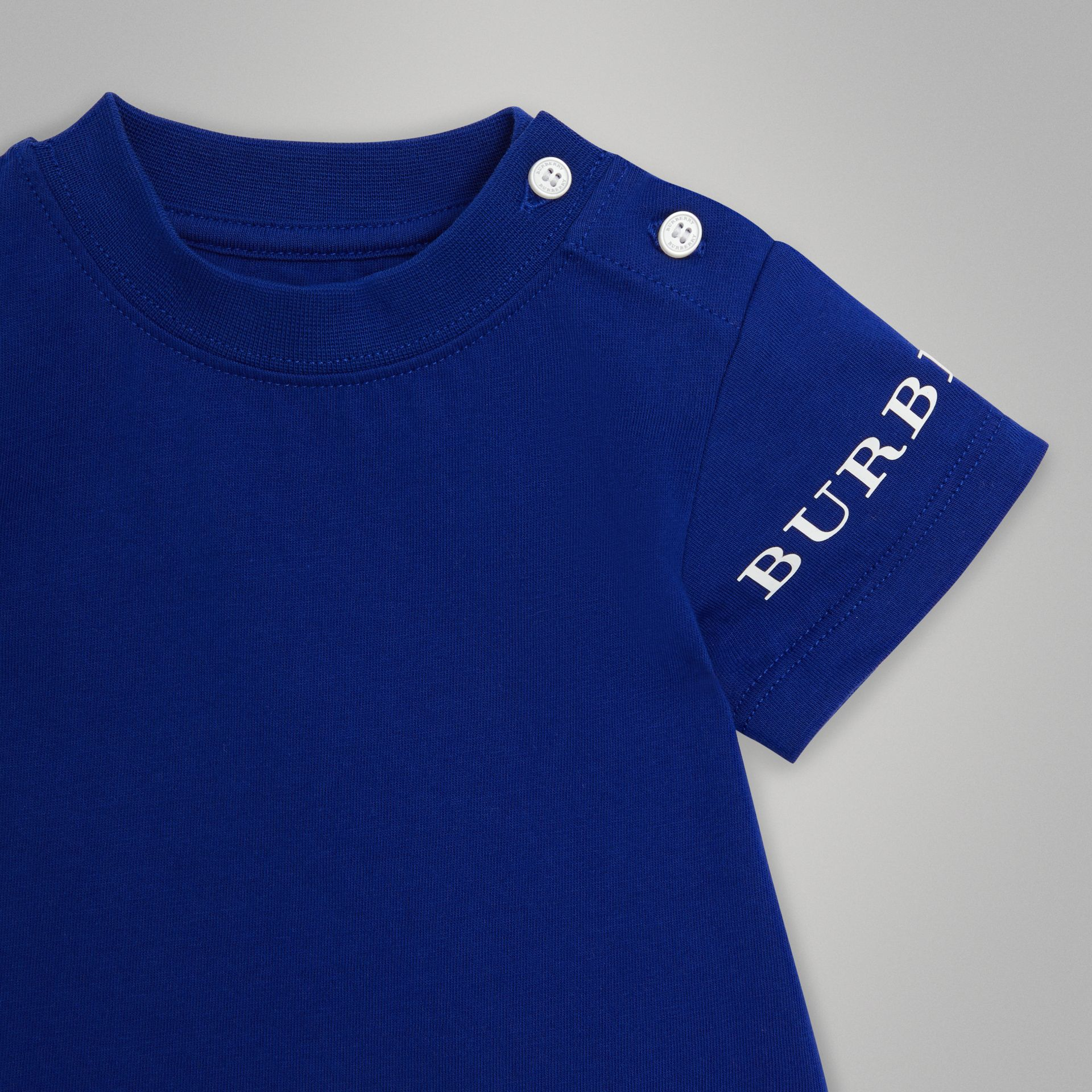 Logo Print Cotton T-shirt in Cobalt Blue - Children | Burberry United Kingdom - gallery image 4
