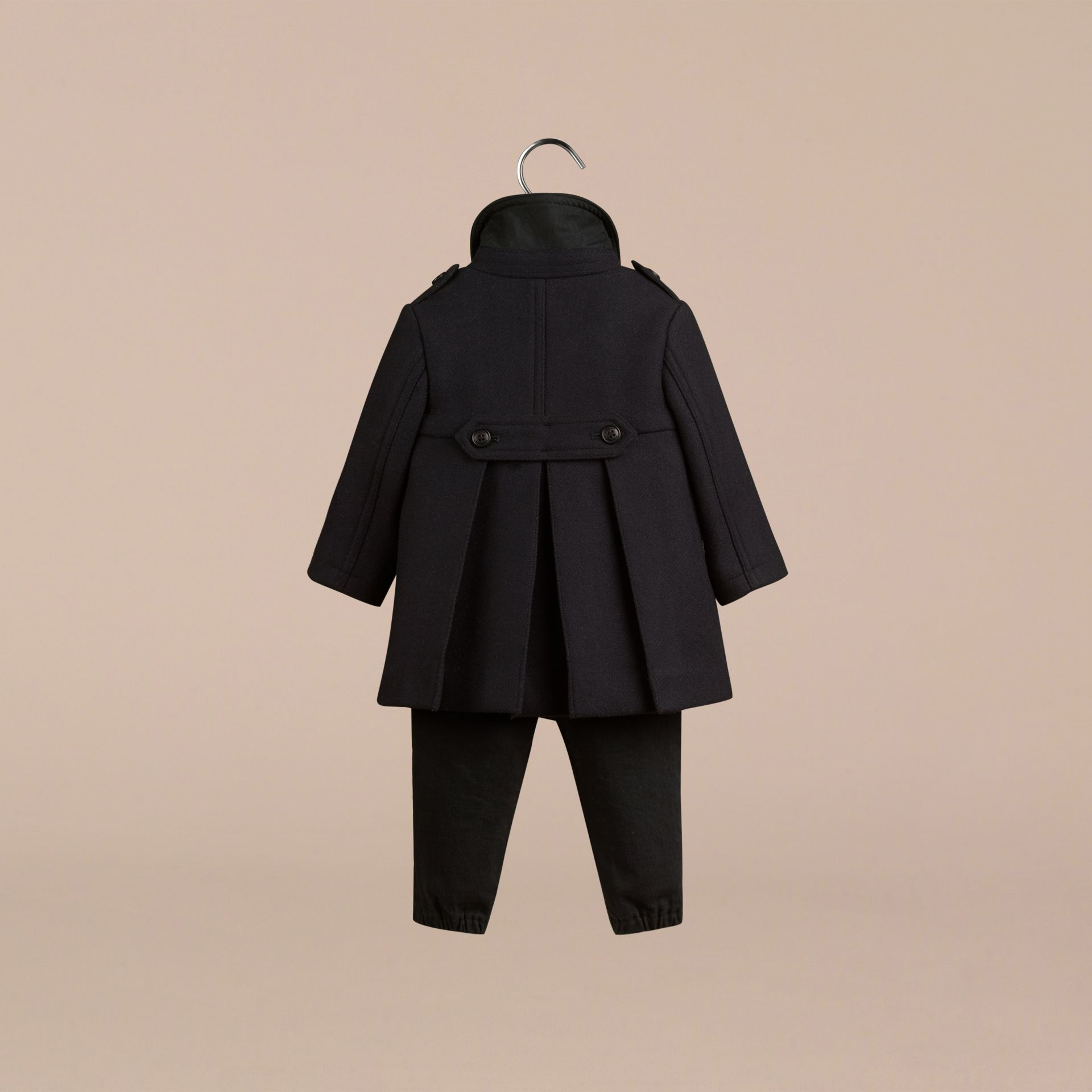Navy Double Wool Blend Coat - gallery image 2