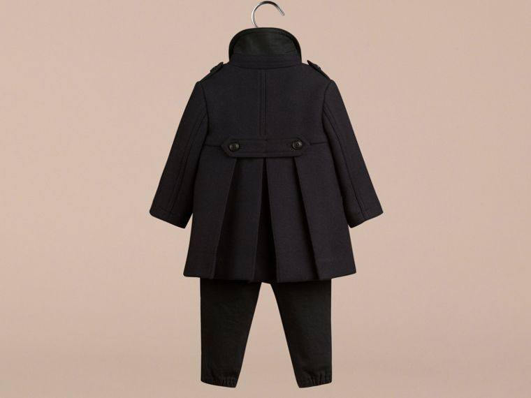 Navy Double Wool Blend Coat - cell image 1