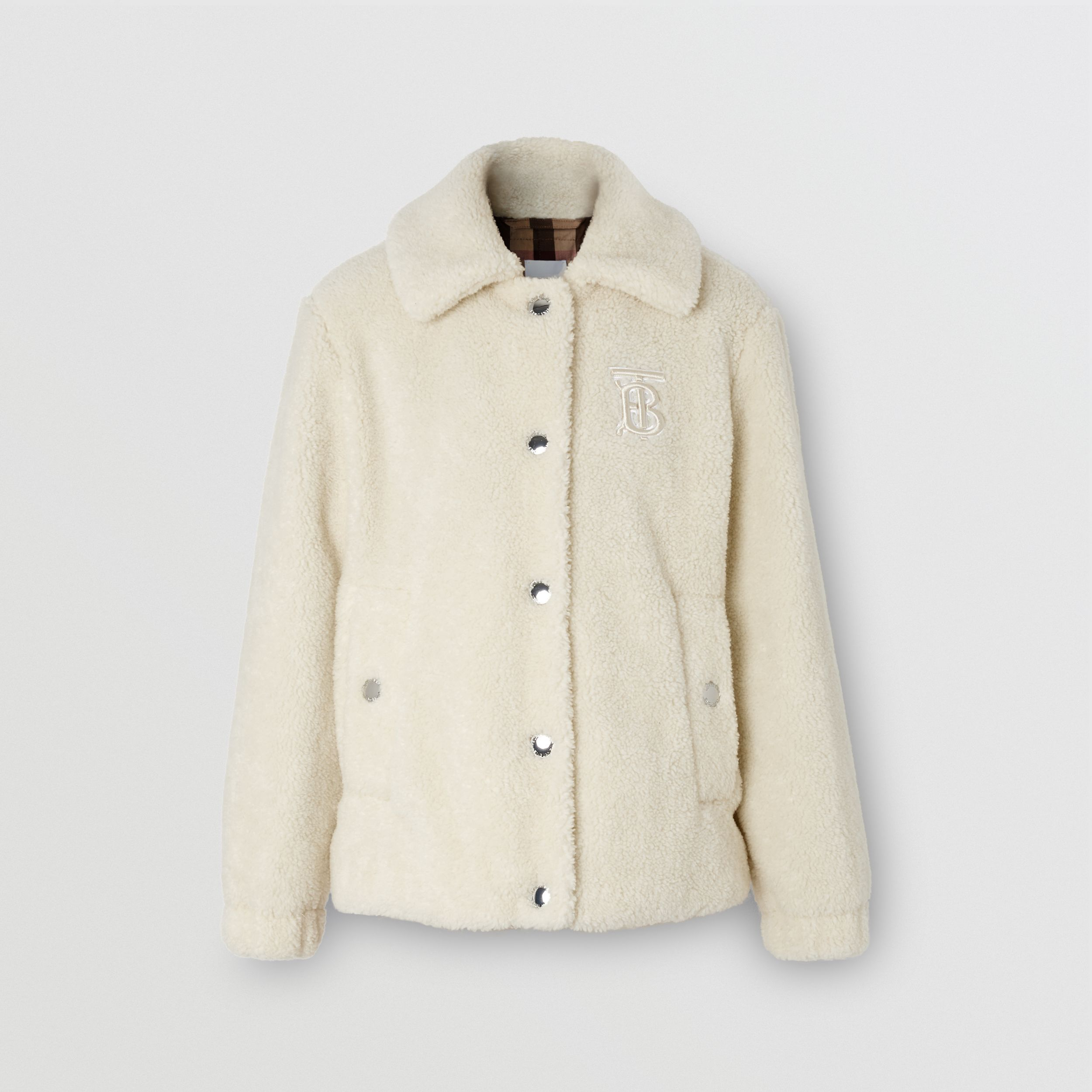 Monogram Motif Fleece Jacket in Ivory - Women | Burberry - 4